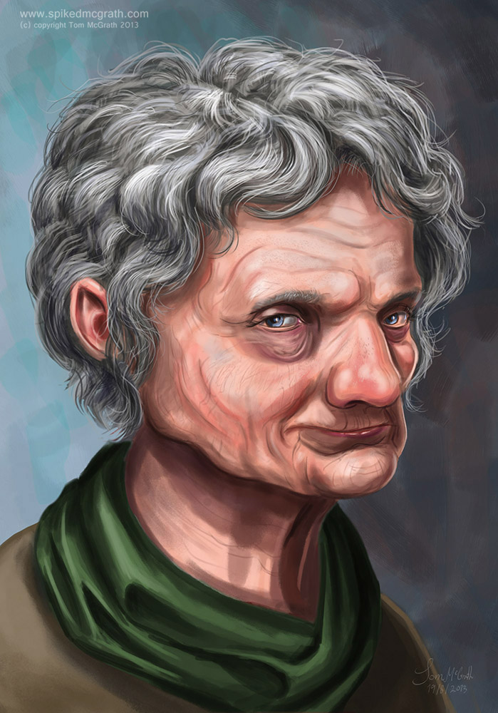 A portrait of an old woman