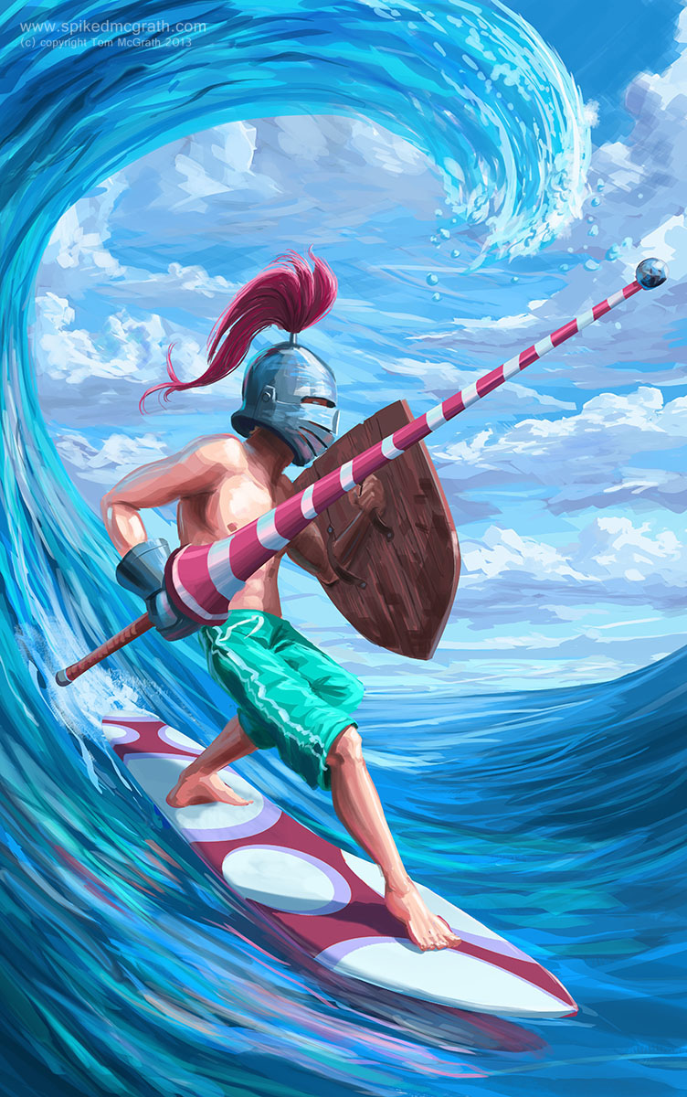 A Knight on a surfboard