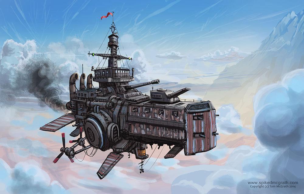 A dieselpunk airship