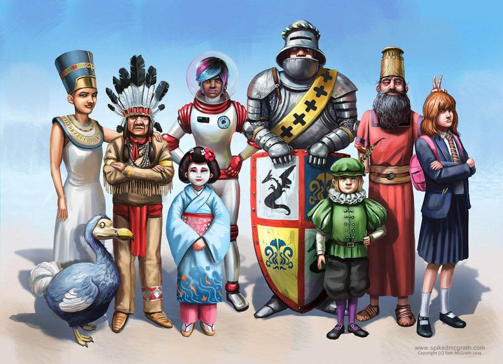 A knight, an indian chief, a Tudor Lord, an astronaut and several other's join for the anuual time traveller's tea party.