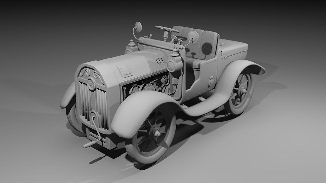 A 3d model of a vintage car