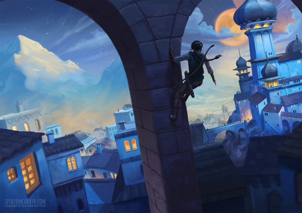A young woman scales a giant aqueduct overlooking dark city.