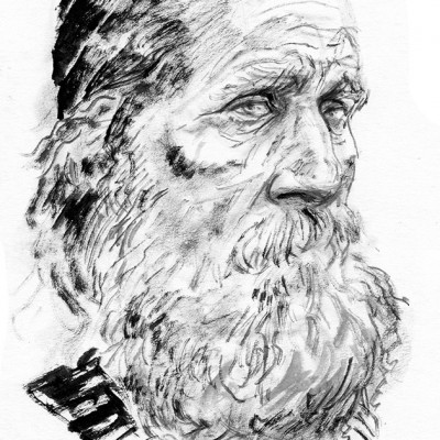 An ink drawing of an old man by artist and illustrator Tom McGrath