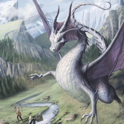 A daring knight battles a dragon. Artwork by TomMcGrath