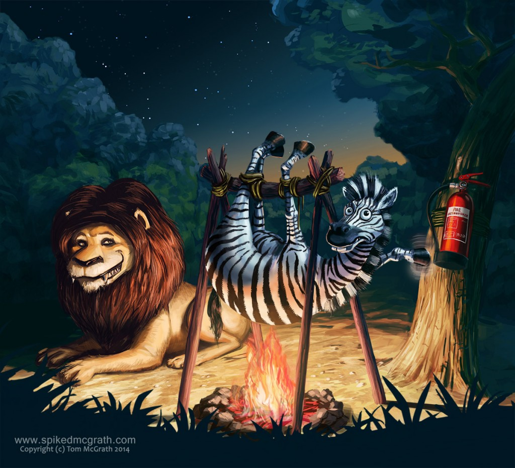 lion roasts zebra over fire
