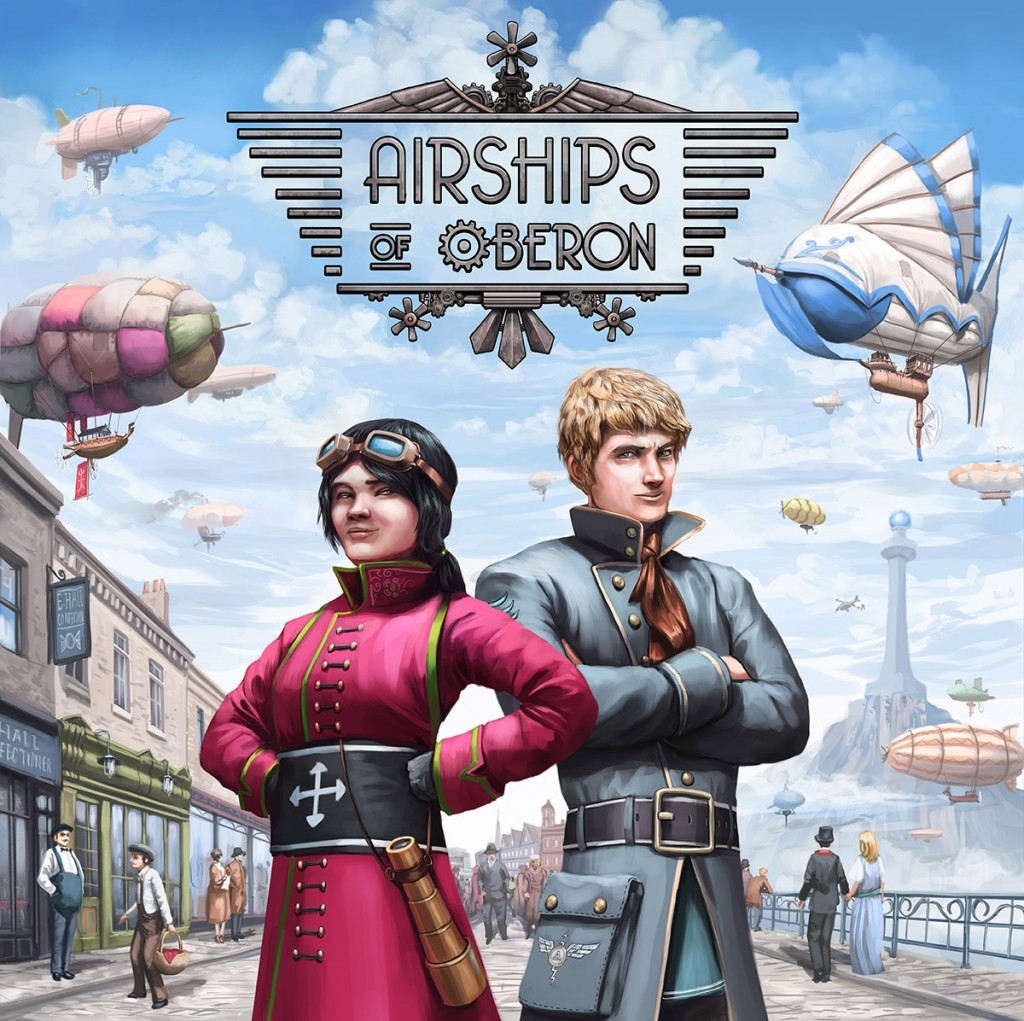 """The box cover art for the boardgame """"Airships of Oberon"""""""