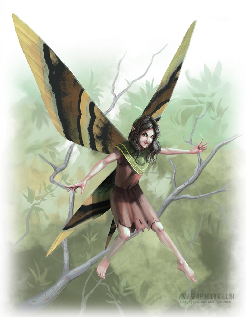 A pixie flying in a forest